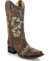 Corral Women's Embroidered Rose Western Boots, , hi-res