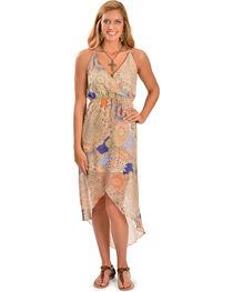 Miss Me Women's High Low Sheer Dress, Blue Multi, hi-res
