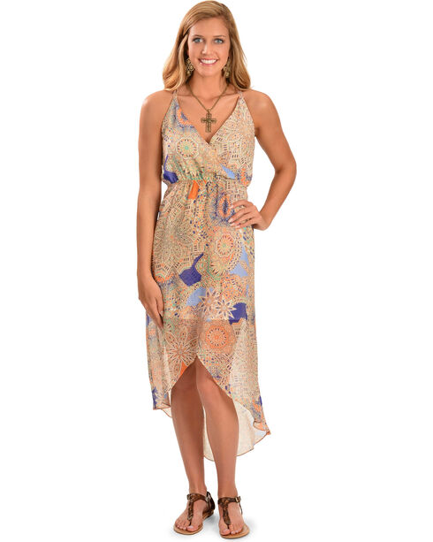 Miss Me Women's High Low Sheer Dress, Blue Multi, hi-res