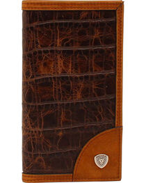 Ariat Croc Print Shield Rodeo Wallet, , hi-res