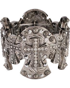 Blazin Roxx Cross Concho Stretch Bracelet, Silver, hi-res