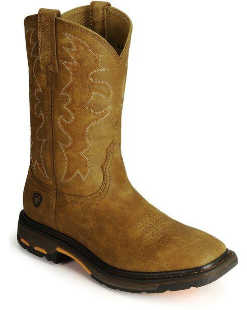 Ariat Men's Workhog Square Toe Work Boots, Bark, hi-res