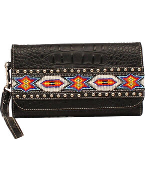 M&F Women's Blazin' Roxx Aztec Beaded Wallet, Black, hi-res