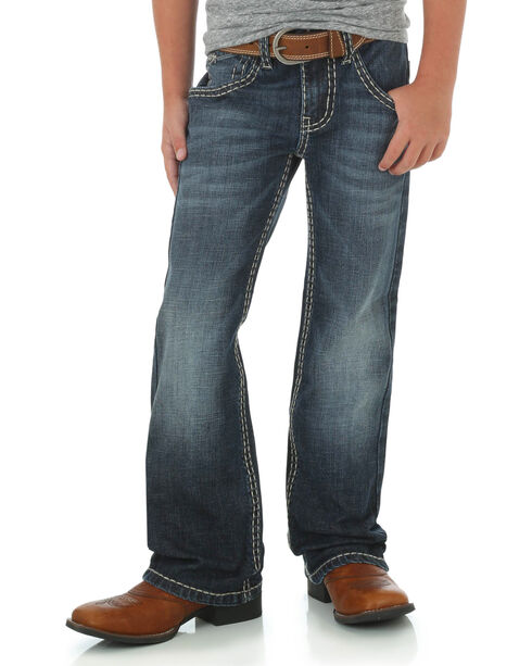 Rock 47 by Wrangler Boys' Relaxed Fit Boot Cut Jeans, Indigo, hi-res