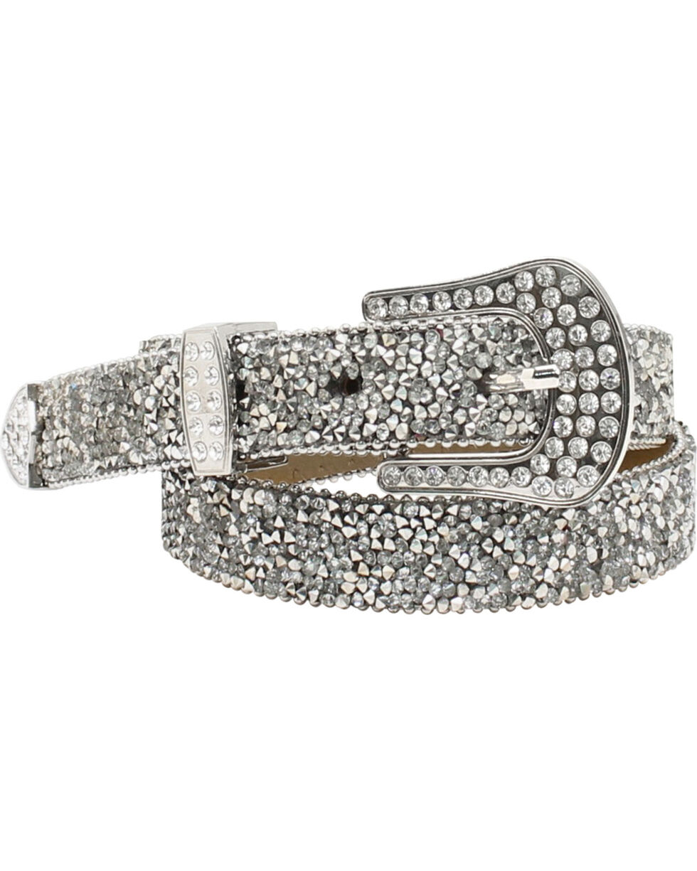 Ariat Women's Rhinestone Encrusted Belt, Silver, hi-res