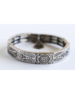 West & Co. Women's Burnished Silver Santa Fe Stretch Bracelet, Silver, hi-res