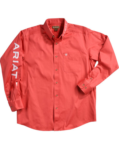 Ariat Men's Solid Casual Classic Twill Logo Shirt, Red, hi-res
