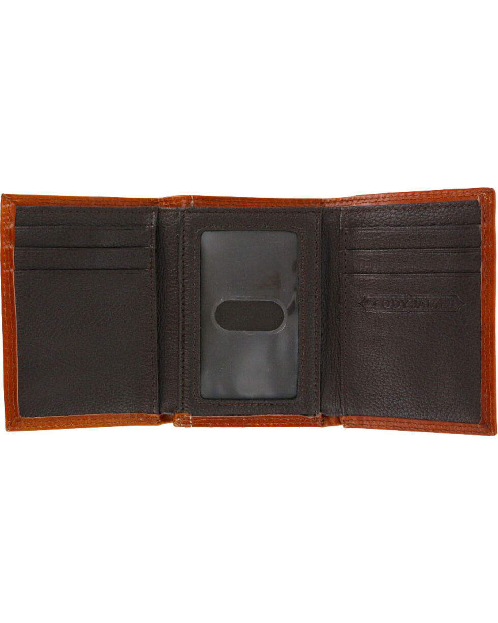 Cody James® Men's Hair-on-Hide Tri-Fold Leather Wallet, Brown, hi-res