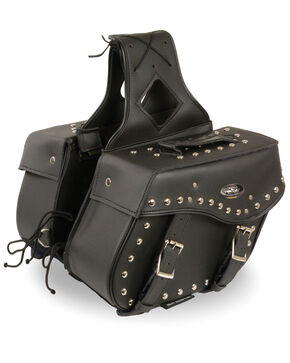 Milwaukee Leather Medium Zip-Off Studded Throw Over Saddle Bag, Black, hi-res