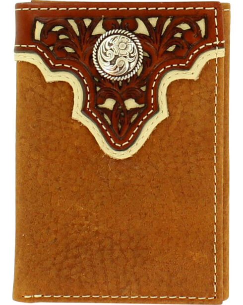 Ariat Men's Pierce Overlay Tri-Fold Leather Wallet , Tan, hi-res