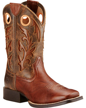 Ariat Youth Boys' Brown Barstow Boots - Wide Square Toe , Brown, hi-res