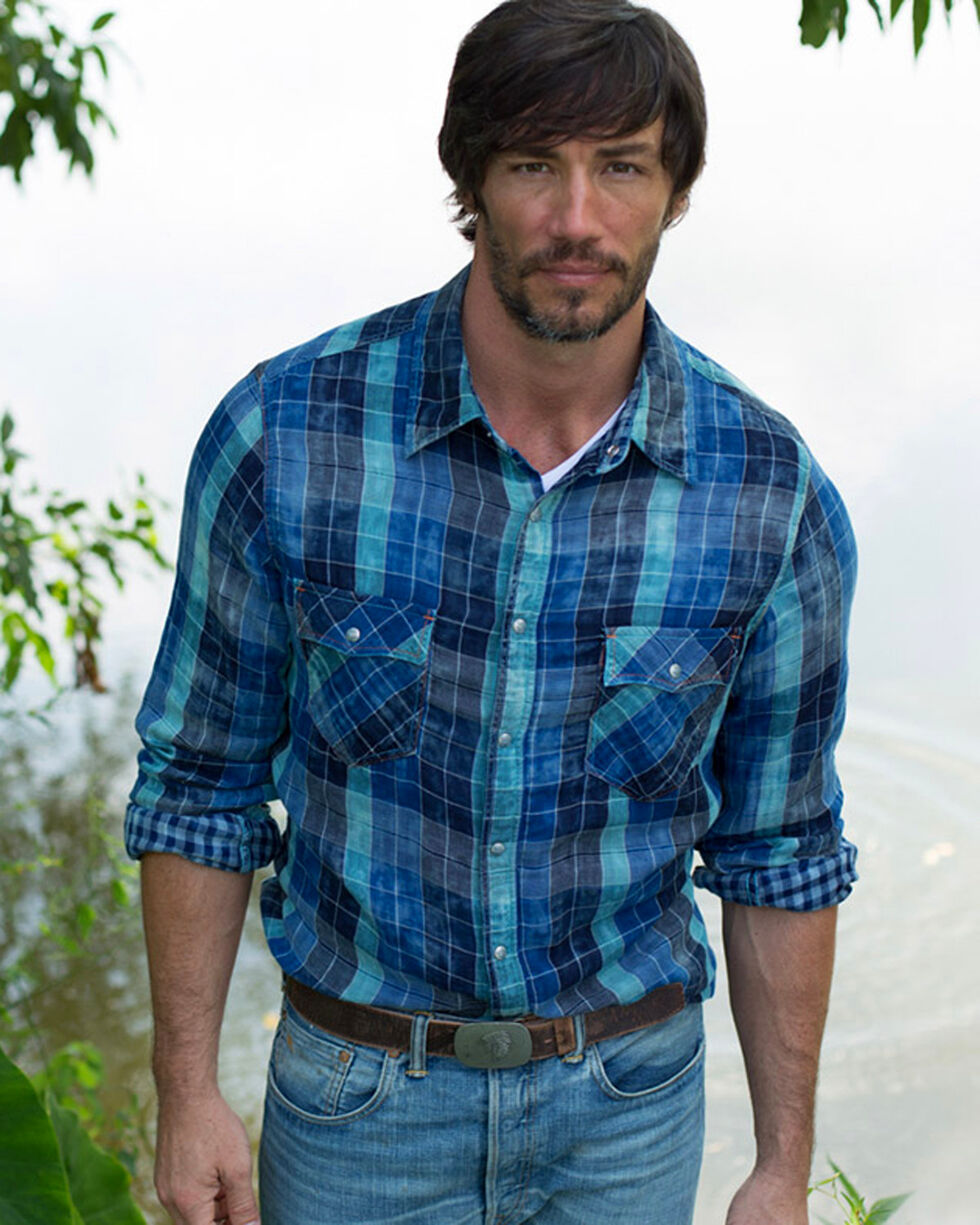 Ryan Michael Indigo Lake Travis Plaid Shirt , Indigo, hi-res