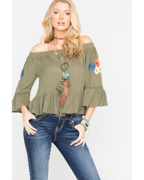 Miss Me Women's Floral Embroidered Off The Shoulder Top, , hi-res