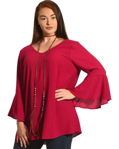 Moa Moa Women's Sangria Bell Sleeve Tunic - Plus, Wine, hi-res