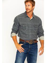 Ryan Michael Men's Horizontal Stripe Jacquard Western Shirt, , hi-res