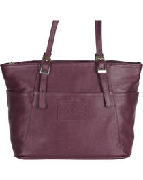 Designer Concealed Carry Plum Uptown Zip Top Tote Bag, , hi-res