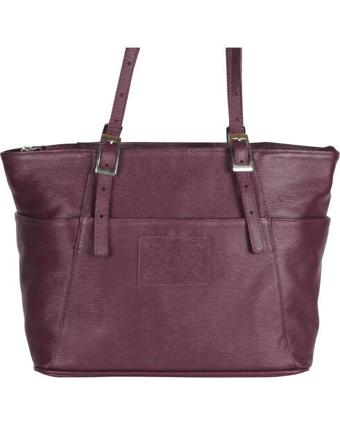 Designer Concealed Carry Plum Uptown Zip Top Tote Bag, Purple, hi-res