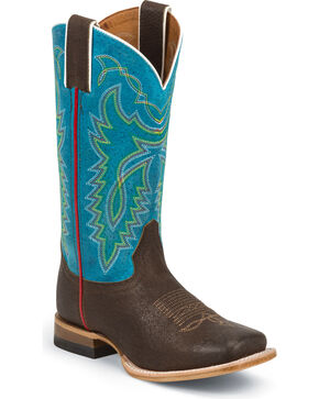 Justin Kid's Luckenbach Western Boots, Blue, hi-res