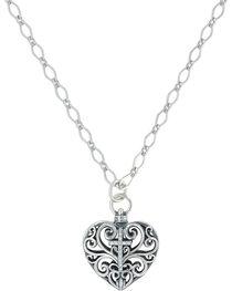 Sterling Lane Women's Heart Full Of Faith Cross Necklace , , hi-res