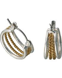 Montana Silversmiths Gold Rope Hoop Earrings, , hi-res