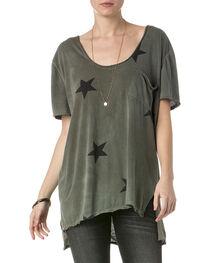 Miss Me Women's Olive Short Sleeve Star Shirt , , hi-res