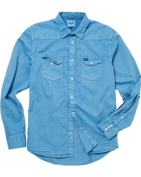 Wrangler Men's 70th Anniversary Long Sleeve Slim Fit Solid Shirt, Blue, hi-res