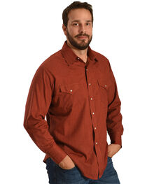 Ely Cattleman Men's Rust Windowpane Solid Long Sleeve Snap Shirt, Rust Copper, hi-res