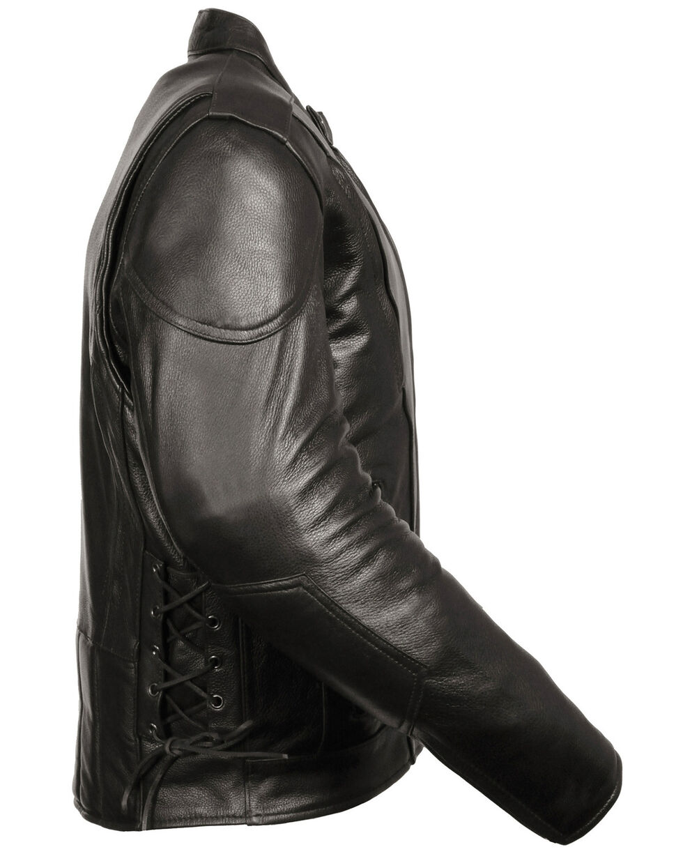 Milwaukee Leather Men's Lace Side Vented Scooter Jacket, Black, hi-res