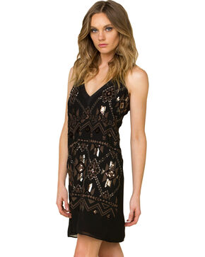 Miss Me Women's Geometric Sequined Sleeveless Dress, Black, hi-res