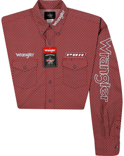 Wrangler Men's Red Logo Long Sleeve Shirt - Big and Tall, Red, hi-res