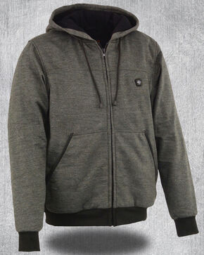 Milwaukee Leather Men's Grey Zipper Front Heated Hoodie , Grey, hi-res