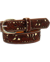 Nocona Boys' Leather Floral Pierced Stitch Belt , , hi-res