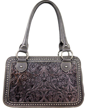 Montana West Trinity Ranch Tooled Handbag with Studs, Black, hi-res