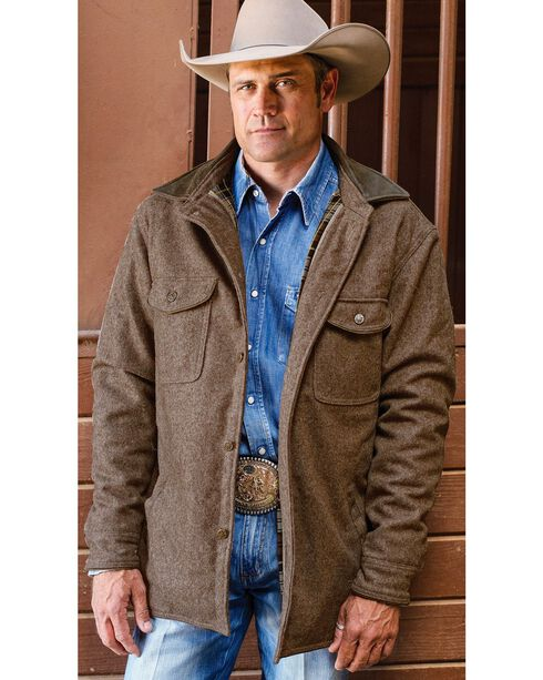 STS Ranchwear Men's Clifton Brown Wool Shirt Jacket, , hi-res