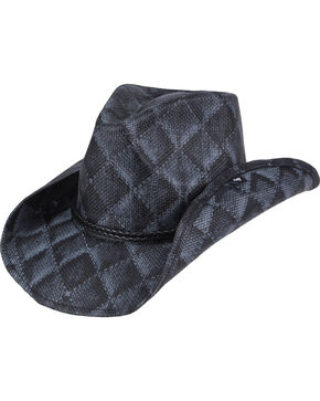 Peter Grimm Arlie Checkered Straw Hat, Black, hi-res