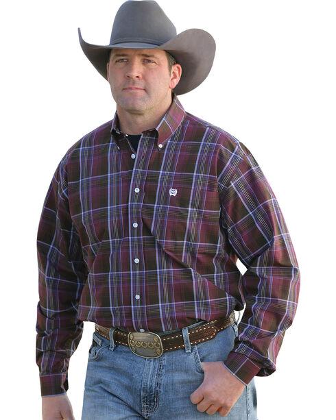 Cinch Men's Plaid Button Down Long Sleeve Shirt, Burgundy, hi-res