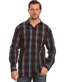 Panhandle Slim Navy and Burgundy Plaid Snap Western Shirt , , hi-res
