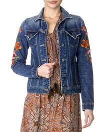 Miss Me Women's Floral Embroidered Denim Jacket , , hi-res
