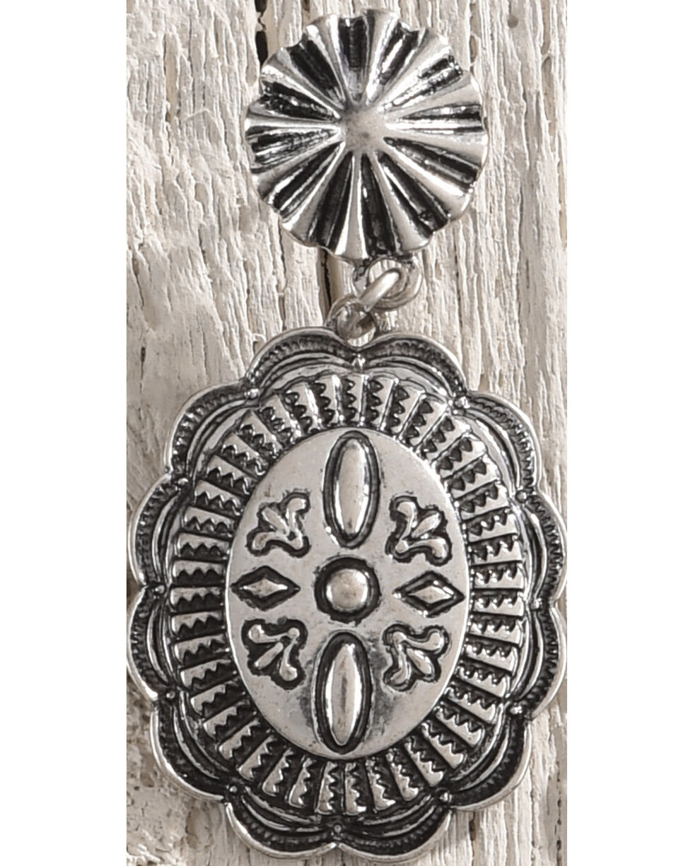 Shyanne Women's Antiqued Silver Engraved Concho Earrings, Silver, hi-res