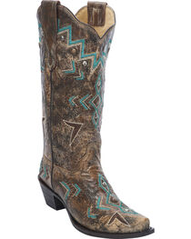 Corral Women's Stud & Embroidery Western Boots, , hi-res