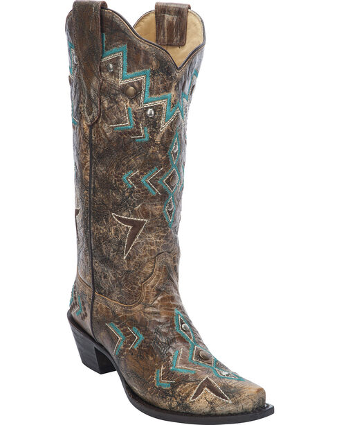 Corral Women's Stud & Embroidery Western Boots, Bronze, hi-res