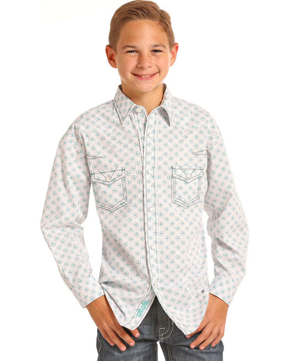 Rock & Roll Cowboy Boys' Heavy Stitch Print Long Sleeve Snap Shirt, White, hi-res
