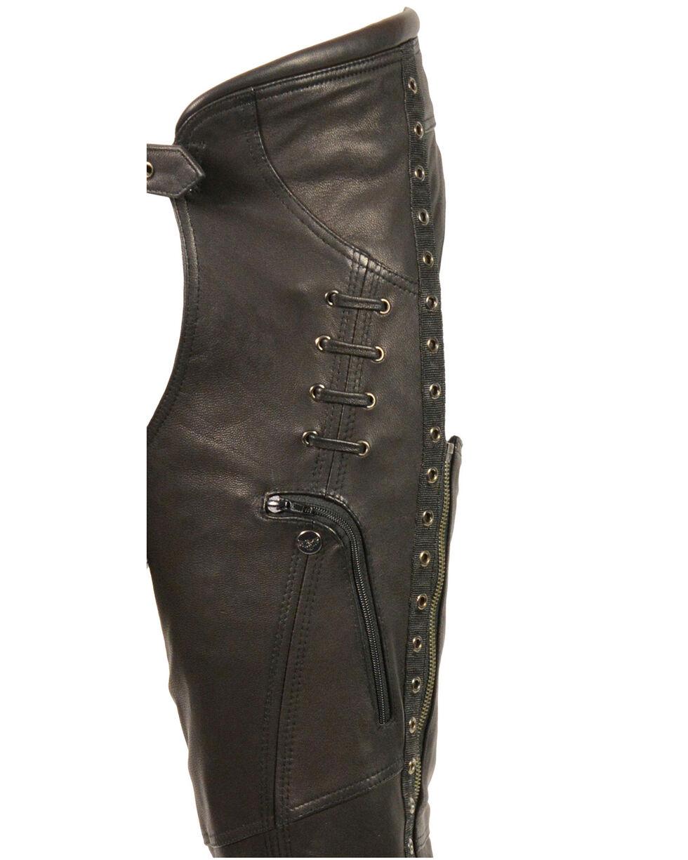 Milwaukee Leather Women's Lace & Grommet Lightweight Hip Set Chaps - 5X, Black, hi-res