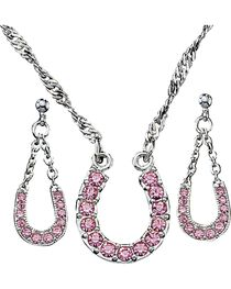 Montana Silversmiths Pink Ice Horseshoe Jewelry Set, , hi-res