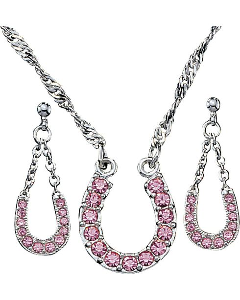 Montana Silversmiths Pink Ice Horseshoe Jewelry Set, Pink, hi-res