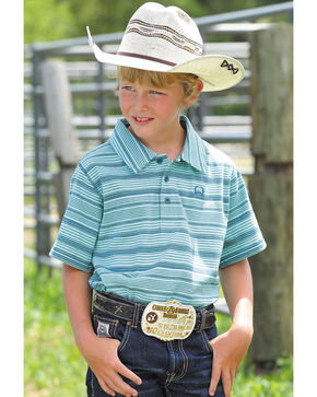 Cinch Boys' Blue Short Sleeve Striped Polo , Light Blue, hi-res
