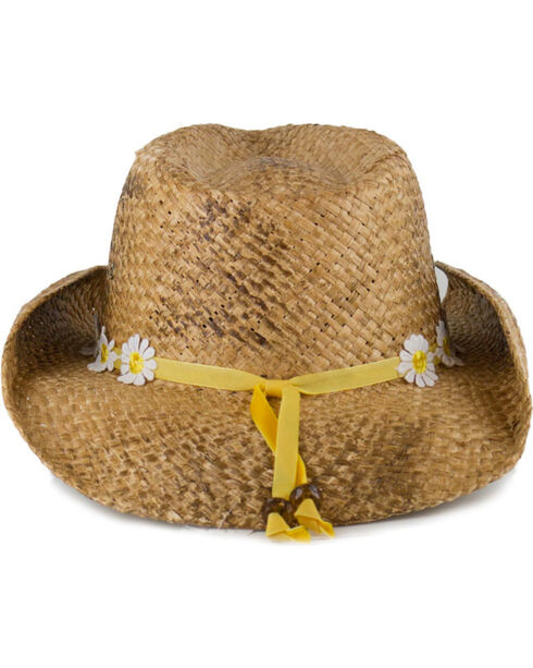 Shyanne Daisy Hat Band Straw Hat, Brown, hi-res