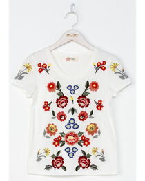 Miss Me Girls' White Mystic Garden Embroidered Top , , hi-res