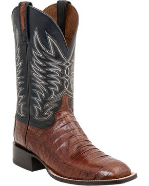 Lucchese Men's Logan Broad Square Toe Caiman Western Boots, Sienna, hi-res