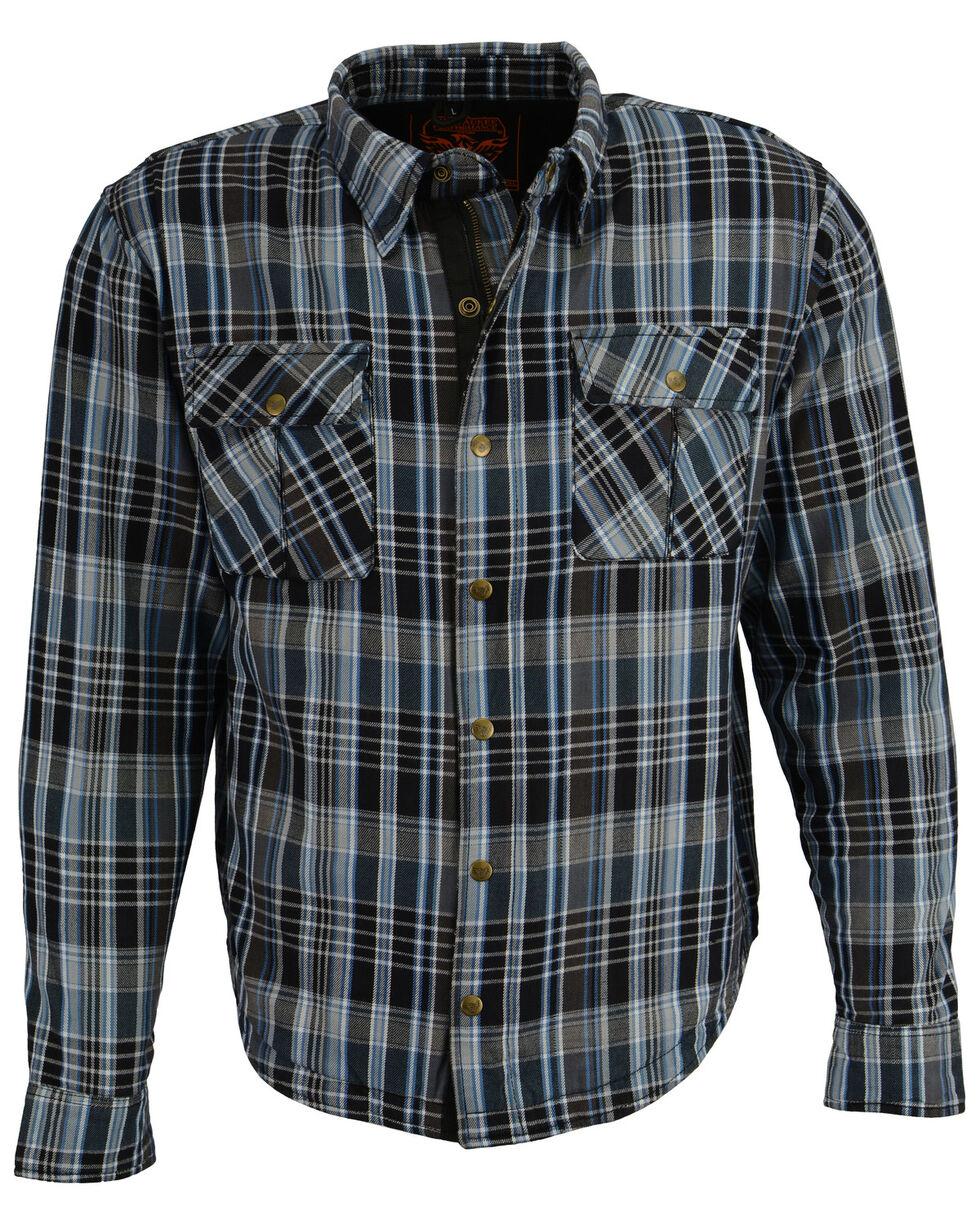 Milwaukee Performance Men's Aramid Reinforced Flannel Biker Shirt - 4X, Black/blue, hi-res